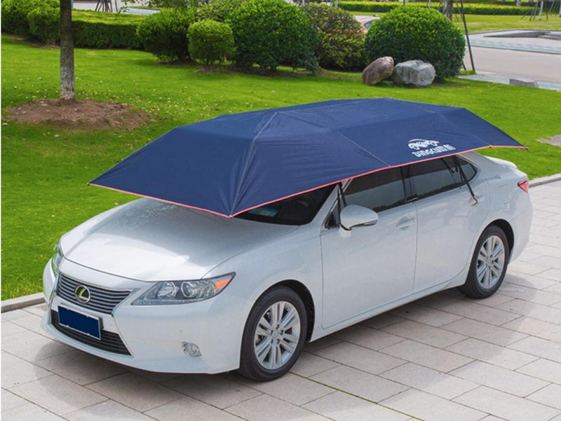 Bạn có thể che nắng cho xe bằng bạt che ô tô có tráng nhôm hoặc ô chuyên dụng.