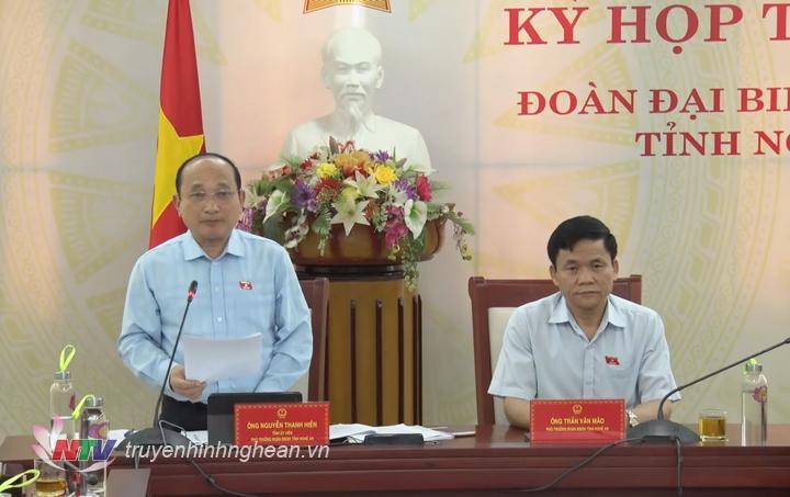 Phó Trưởng đoàn ĐBQH tỉnh Nghệ An Nguyễn Thanh Hiền phát biểu ý kiến.