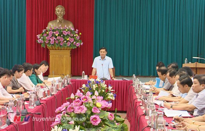 Bí thư Tỉnh ủy Thái Thanh Quý phát biểu kết luận buổi làm việc.