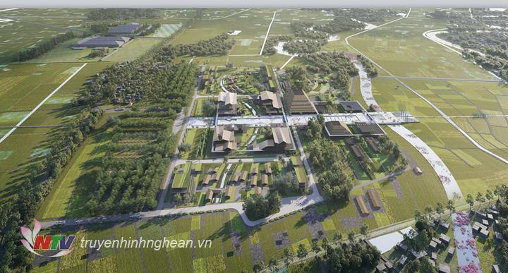 Phối cảnh quy hoạch tổng thể bảo tồn và tôn tạo Khu di tích Quốc gia đặc biệt - Khu lưu niệm Chủ tịch Hồ Chí Minh tại Kim Liên, Nam Đàn.