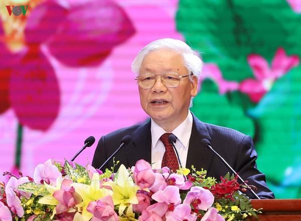 Tổng Bí thư, Chủ tịch nước Nguyễn Phú Trọng phát biểu tại Lễ kỷ niệm 130 năm ngày sinh Chủ tịch Hồ Chí Minh.