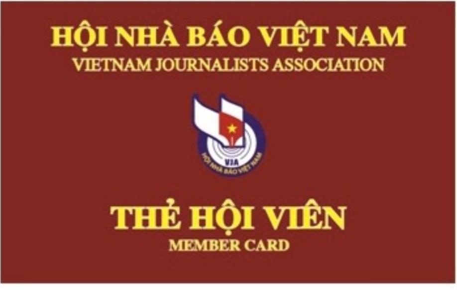 Mẫu thẻ hội viên Hội nhà báo Việt Nam giai đoạn 2016-2021.