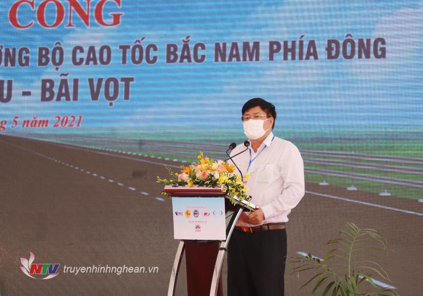 Ông Phạm Đình Hạnh - Chủ tịch HDTV Công ty CP đầu tư Phúc Thành Hưng, đại diện nhà đầu tư phát biểu tại lễ khởi công.