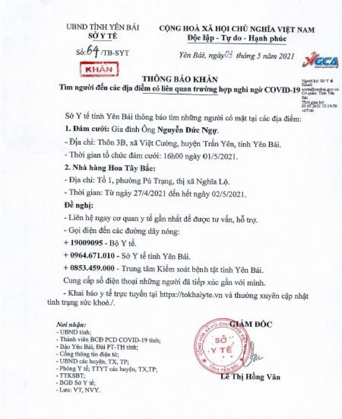 Thông báo khẩn của Sở Y tế Yên Bái chiều 3/5.