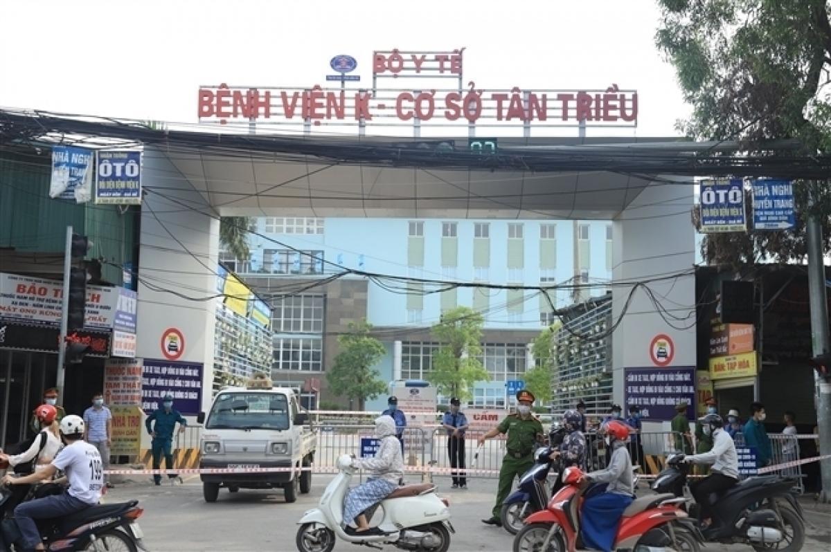 Bệnh viện K cơ sở Tân Triều, nơi đang là ổ dịch lớn của Hà Nội.