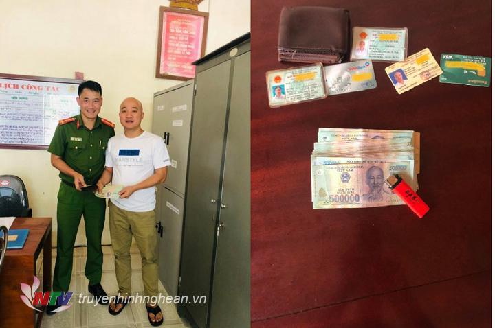 Đại diện Công an xã Quỳnh Liên tiến hành trao trả tài sản cho du khách.