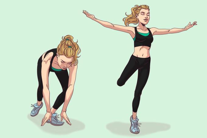 Lunge kết hợp ba lê   Đứng thẳng, hai chân rộng bằng một vai, bước lên phía trước một bước dài, mũi chân trước hướng ra ngoài, hạ thấp người về phía trước, hai tay hướng xuống đất. Kiễng ngón chân trước, nâng người lên cao, chân sau gập, hai tay đưa thẳng sang ngang. Thực hiện động tác 20 lần.