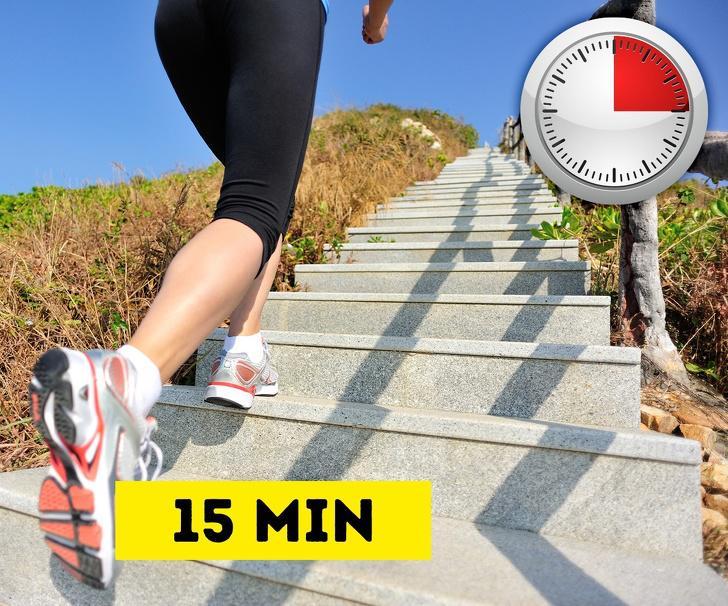 Bài tập cardio bằng cách leo cầu thang:Bài tập cardio (bài tập thể dục làm tăng nhịp tim) rất quan trọng đối với việc giảm mỡ và nó sẽ làm cho trao đổi chất diễn ra nhanh hơn. Thay vì sử dụng thang máy, hãy chọn đi thang bộ, bạn sẽ sớm nhận thấy, cơ thể mình trở nên khỏe mạnh hơn nhiều.