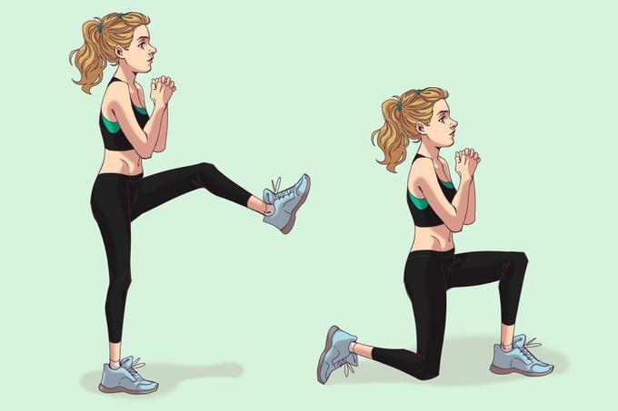 Lunge với một chân nâng cao   Đứng thẳng, hai chân rộng bằng một vai, hai tay nắm lại để trước ngực. Đưa một chân lên cao rồi bước lên phía trước, hạ thấp trọng tâm sao cho đầu gối vuông góc. Lặp lại động tác mỗi bên 20 lần.