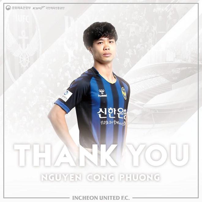 CLB Incheon gửi lời cảm ơn những đóng góp của Công Phượng thời gian qua.