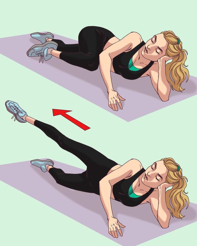 Rút gối  Ở tư thế chuẩn bị như trên, thực hiện động tác rút gối cao rồi đạp thẳng chân 20 lần mỗi bên.