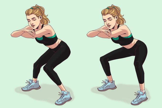 Squat mở gối  Ở tư thế squat với hai chân rộng bằng hai vai, hai khuỷu tay úp vào nhau, thực hiện động tác đóng mở gối liên tục 20 lần.