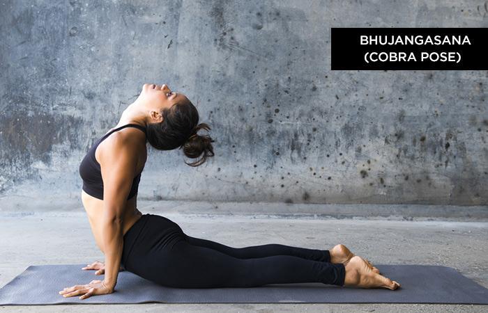 Bhujangasana - tư thế hổ mang: Đây là một phần của bài tập Surya Namaskar. Tư thế này khá khó cần được thực hiện khi bụng rỗng tuyệt đối. Thực hiện động tác trong 15-30 giây.