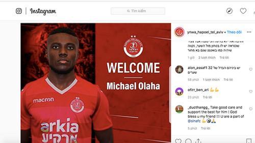 Trang Instagram của CLB Hapoel Tel-Aviv khẳng định Olaha sẽ rời SLNA cuối mùa 2019