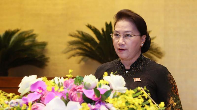 Chủ tịch Quốc hội Nguyễn Thị Kim Ngân phát biểu bế mạc kỳ họp thứ 7 Quốc hội khoá XIV. (Ảnh: Quochoi.vn)