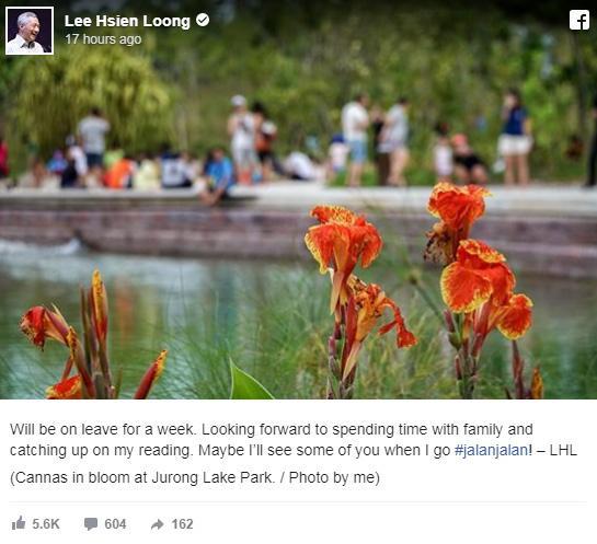 Ảnh chụp màn hình trang Facebook của Thủ tướng Singapore Lý Hiển Long.