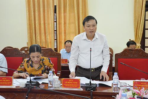 Phó Chủ tịch UBND tỉnh Lê Hồng Vinh phát biểu tại buổi làm việc