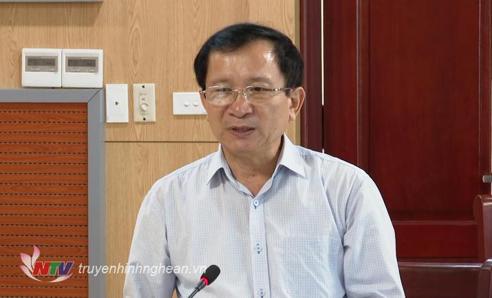 Phó Chủ tịch UBDN tỉnh Đinh Viết Hồng phát biểu tại cuộc họp.