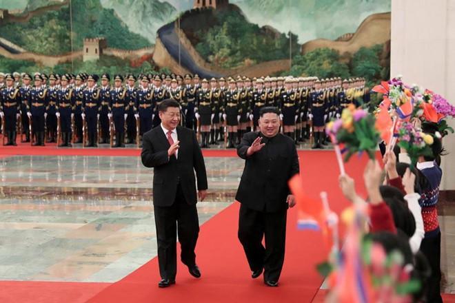 Chủ tịch Trung Quốc Tập Cận Bình tiếp đón nhà lãnh đạo Triều Tiên Kim Jong Un tại Bắc Kinh hồi tháng 1 - lần gặp nhau thứ 4 của hai nhà lãnh đạo.