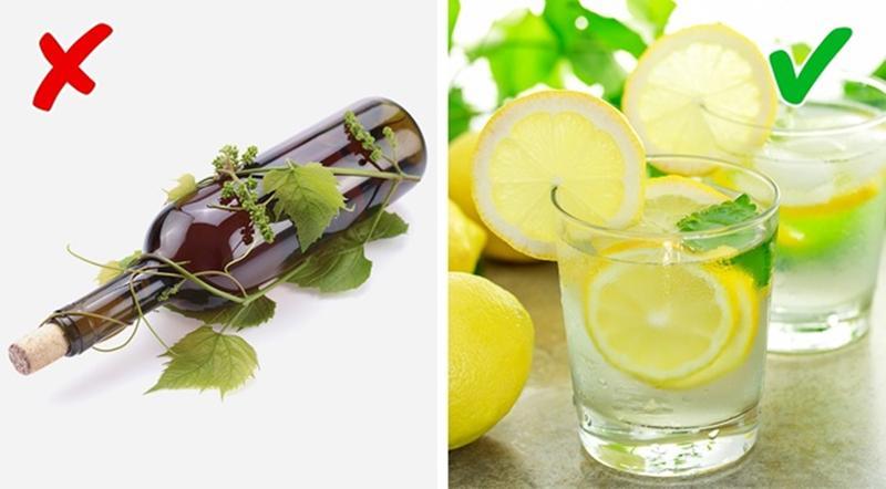 """Rượu vs Nước chanh: Say không phải là """"tác dụng phụ"""" duy nhất của rượu, bởi mọi người xung quanh sẽ dễ dàng nhận ra bạn đang """"nồng nặc mùi rượu"""" sau một chầu nhậu say. Với nước chanh, cơ thể bạn sẽ được giải độc nhờ chất chống oxy hóa cao trong loại nước giải khát này."""
