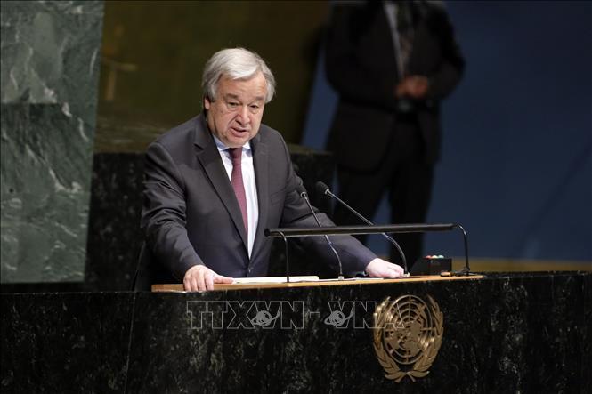 Tổng thư ký LHQ Antonio Guterres phát biểu tại New York, Mỹ.