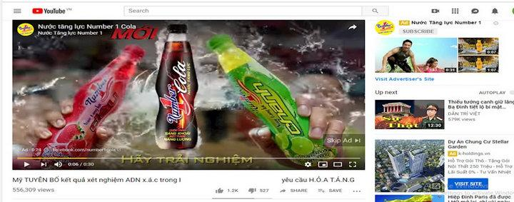 Quảng cáo của các nhãn hàng xuất hiện trong các video có nội dung phản động. Ảnh chụp toàn màn hình