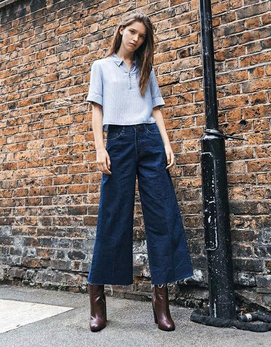 Những mẫu quần jeans ống lửng thường được chọn lựa để phối cùng áo sơ mi, thun. Bên cạnh đó, các kiểu bốt cổ thấp, giầy cao gót là phụ kiện không thể thiếu.