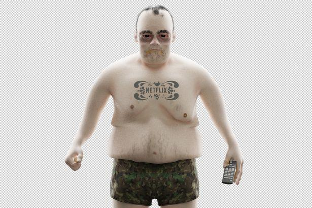 Eric bị béo phì, hói đầu và mắt luôn đỏ ngầu vì dành nhiều thời gian để xem phim liên tục tại nhà.