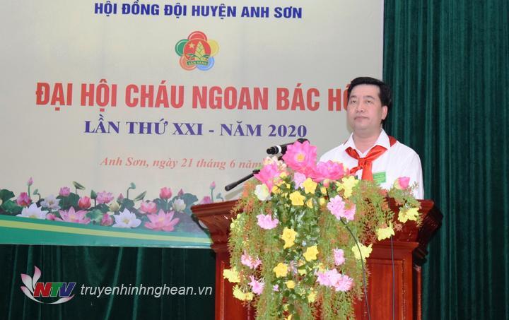 đồng chí Nguyễn Hữu Sáng, Ủy viên BCH Đảng bộ tỉnh, Bí thư Huyện ủy, Chủ tịch UBND huyện phát biểu