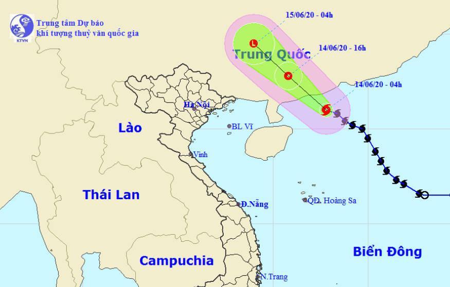 Đường đi của bão số 1. Ảnh: TTKTTVTW