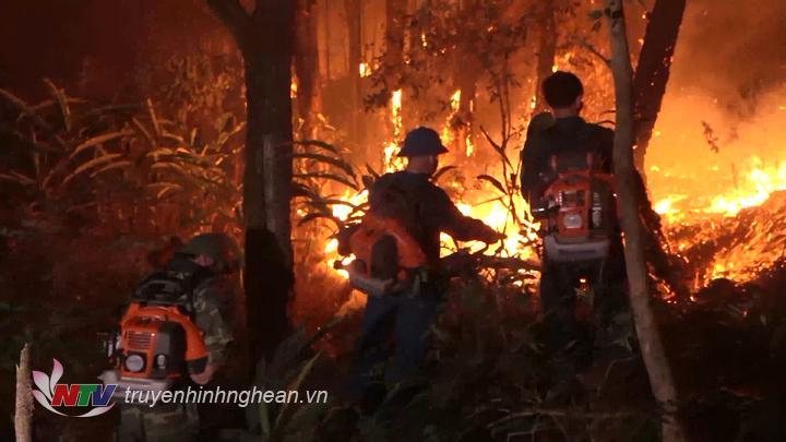 Các lực lượng nỗ lực chữa cháy trong đêm.