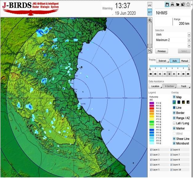 Ảnh radar JMA lúc 13h37