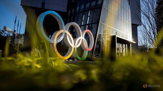 Biểu tượng của Olympic Tokyo 2020 tại Tokyo, Nhật Bản. Ảnh: REUTERS