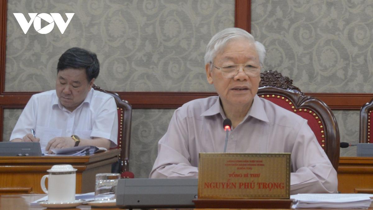 Tổng Bí thư Nguyễn Phú Trọng phát biểu tại cuộc họp.