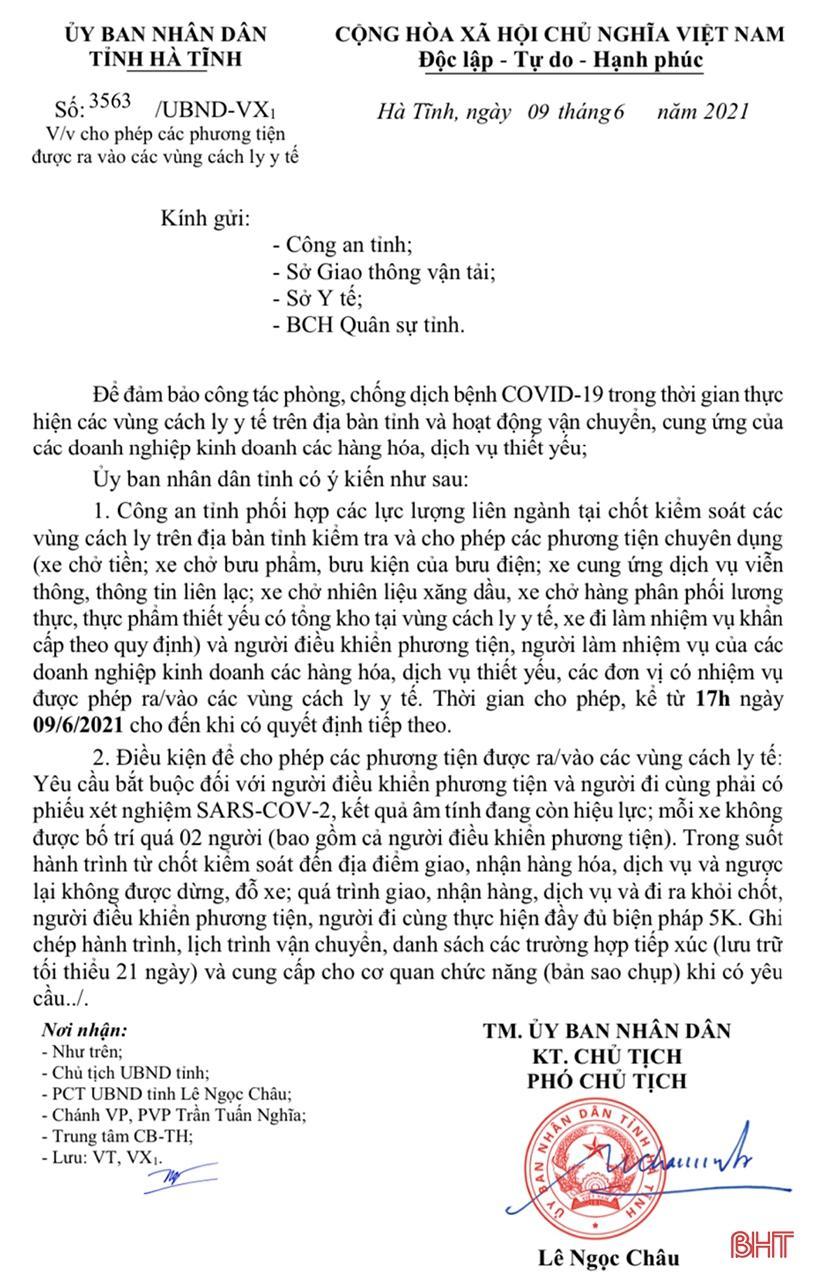 Văn bản số 3563/UBND-VX1, ngày 9/6 về việc cho phép các phương tiện được ra vào vùng cách ly y tế.