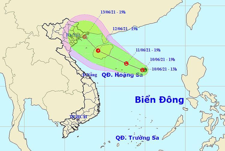 Vị trí và đường đi của áp thấp nhiệt đới. Nguồn:NCHMF