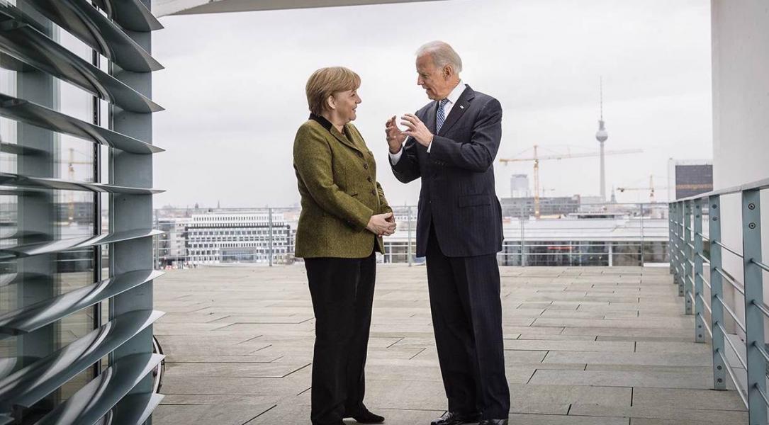 Thủ tướng Đức Angela Merkel và Tổng thống Mỹ Joe Biden. Ảnh: Getty