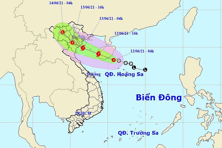 Vị trí và đường đi của vùng áp thấp nhiệt đới lúc 4 giờ ngày 12/6. Ảnh: KTTV.
