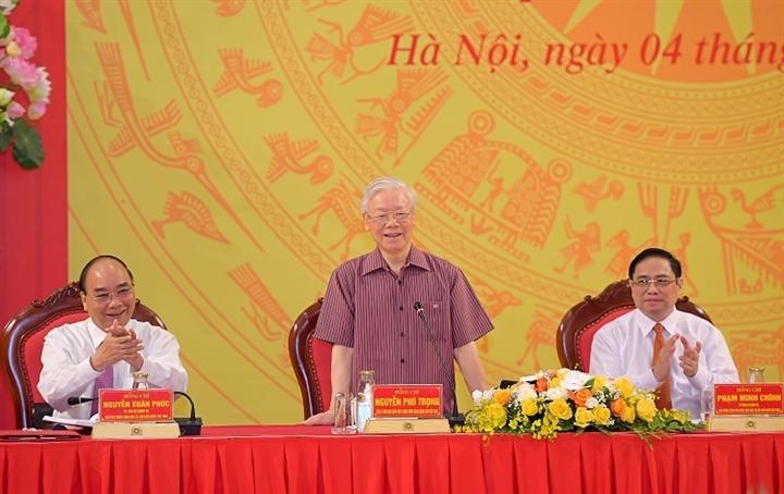 Tổng Bí thư Nguyễn Phú Trọng, Chủ tịch nước Nguyễn Xuân Phúc, Thủ tướng Phạm Minh Chính tại buổi lễ.