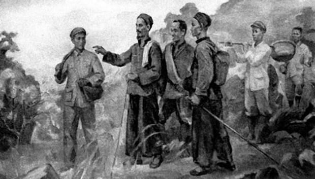 Sau 30 năm bôn ba, ngày 28/1/1941, Nguyễn Ái Quốc - Bác Hồ từ Trung Quốc về nước và ở tại Pác Bó (Cao Bằng), trực tiếp lãnh đạo đấu tranh cách mạng. Người chỉ ra rằng, trong điều kiện cụ thể của Việt Nam, con đường duy nhất phải theo là con đường cách mạng dân tộc dân chủ do Đảng tiên phong của giai cấp công nhân lãnh đạo đánh đổ đế quốc, thực dân, giành độc lập dân tộc, sau đó tiến lên thực hiện cách mạng xã hội chủ nghĩa. (Tranh tư liệu/TTXVN phát)