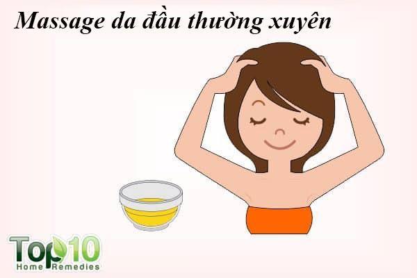 Massage da đầu thường xuyên: Có lẽ phương pháp ít tốn kém nhất để kiểm soát rụng tóc là massage da đầu. Massage da đầu với tinh dầu giúp tăng lưu lượng máu đến nang lông, chăm sóc da đầu và tăng cường sức mạnh của rễ tóc của bạn. Nó cũng sẽ giúp thư giãn và giảm cảm giác căng thẳng - lý do phổ biến đằng sau rụng tóc.