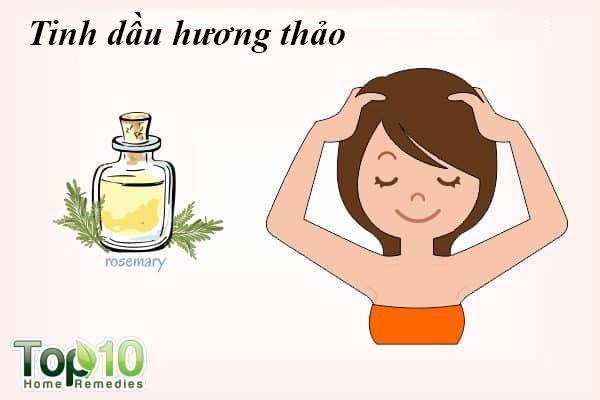 Tinh dầu hương thảo: Massage da đầu giúp kích thích nang tóc để tăng trưởng tóc. Thêm tinh dầu hương thảo khi gội đầu sẽ giúp ngăn ngừa tóc mỏng và hói đầu. Tinh dầu hương thảo rất tốt cho mái tóc vì nó có đặc tính chống oxy hóa giúp tăng trưởng tóc. Nó cũng làm sạch da đầu, loại bỏ vi khuẩn, do đó ngăn ngừa ngứa da đầu và gàu.