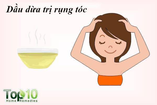 Dừa: Dầu dừa có chứa các axit béo, nó dễ dàng xâm nhập vào các sợi tóc, cung cấp khoáng chất và protein làm giảm rụng tóc. Bạn có thể sử dụng dầu dừa hoặc sữa dừa để ngăn ngừa rụng tóc.
