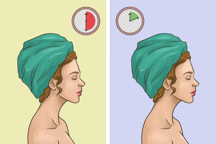 Ủ tóc trong khăn quá lâu: Đừng làm khô tóc với khăn quá 30 phút, đặc biệt đối với khăn cotton. Các phân tử của chất liệu này tạo ra ma sát và khiến tóc yếu hơn khi sấy sau đó. Hãy chọn các loại khăn mềm làm từ các vi sợi và không quấn tóc trong khăn quá 10 phút.