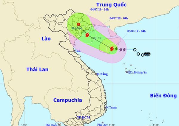 Hướng đi của bão số 2 sáng 3/7. Ảnh: Trung tâm Khí tượng Thủy văn Quốc gia