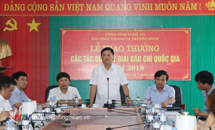 Chủ tịch UBND tỉnh Thái Thanh Quý phát biểu tại lễ trao thưởng.