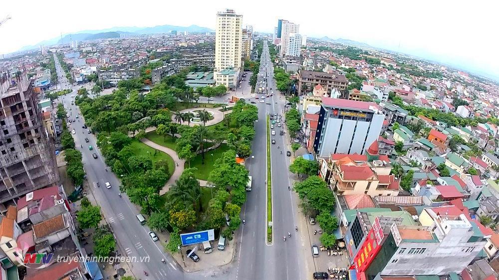 Một góc thành phố Vinh nhìn từ trên cao.