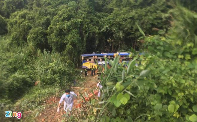 Hiện trường vụ tai nạn ở độ sâu 20 m.