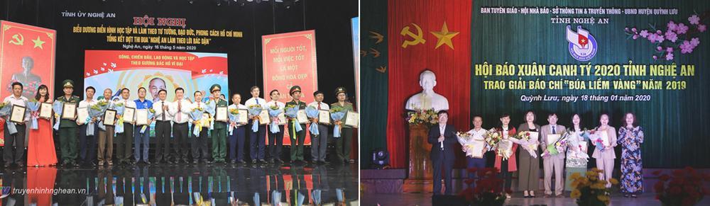 """Trao thưởng cho các tập thể điển hình học tập và làm theo tấm gương, đạo đức, phong cách Hồ Chí Minh; trao Giải Báo chí """"Búa liềm vàng"""" năm 2019."""