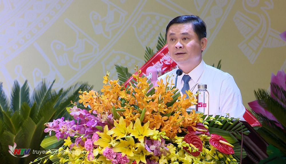 Bí thư Tỉnh ủy Nghệ An Thái Thanh Quý phát biểu tại Đại hội.
